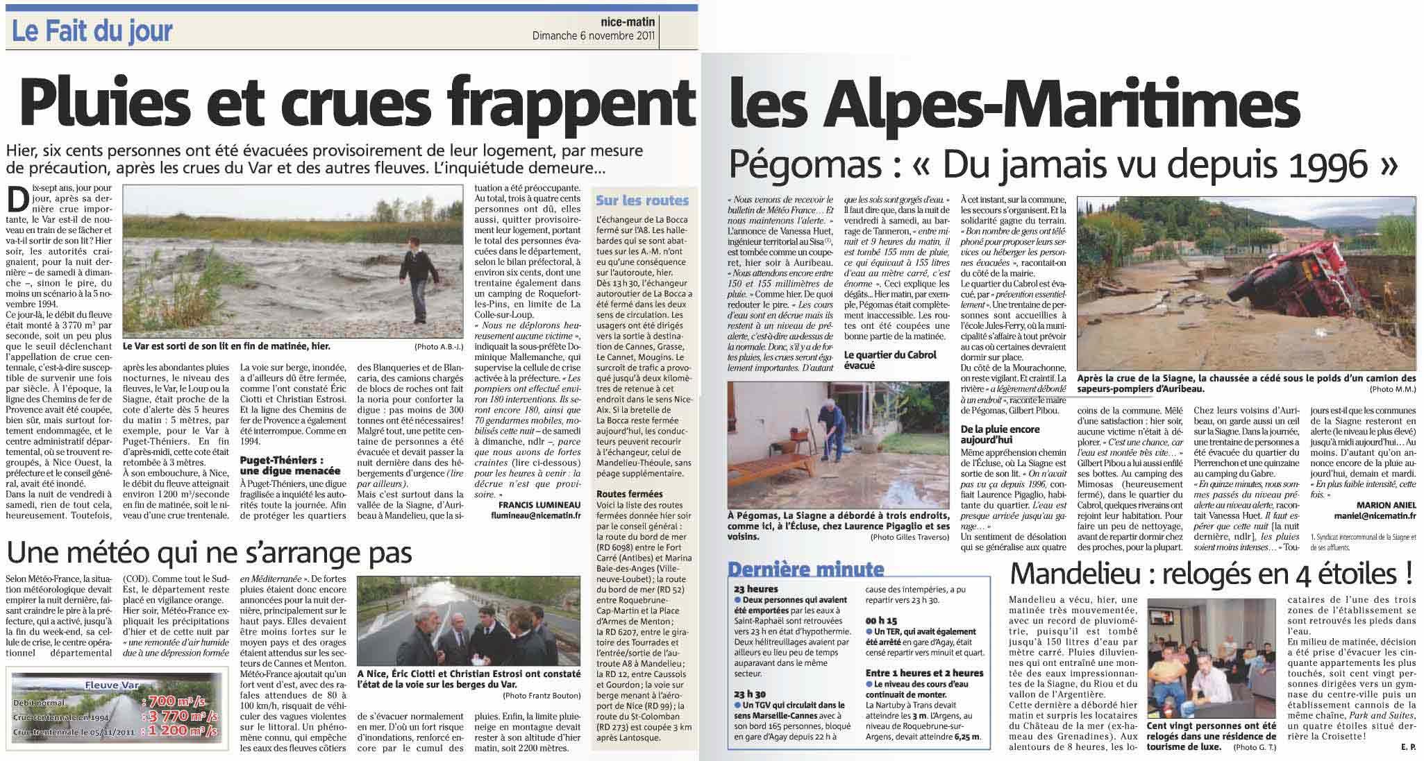2011-11-06: Pluies et crues frappent les Alpes-Maritimes